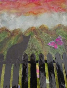 """An 8x11"""" stretched piece of quality canvas is stretched and stapled to a wood frame. The background of sunset, hillside, and lawn are created with combination of various colors of Tim Holtz Alcohol Inks . A black cat sits on a black picket fence, and a colorful flowers and magenta butterfly stickers are also included. FREE USPS Priority Shipping! By, """"ForPrettySake"""""""
