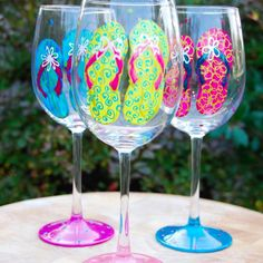 Flip Flops Hand Painted Wine Glasses ...