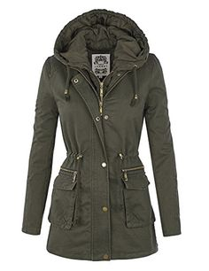 LL WJC1045 Womens Casual Anorak Safari Hoodie Jacket L OLIVE *** Read more at the image link.