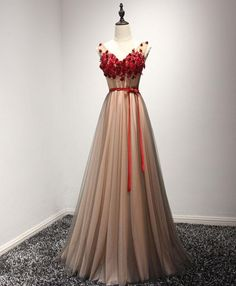 Cute burgundy lace appliques long V neck handmade prom dress with sash #promdress