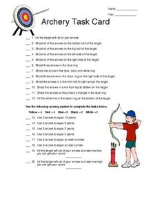 Archery Games: Partner Task Card, Safari Hunt, Bingo, and Horse. After students have worked of technique and scoring in Archery they really enjoy playing these archery games.