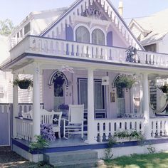 not my colors but cute cottage Lovely Lavender Cottage & Porch Little Cottages, Cabins And Cottages, Beach Cottages, Little Houses, Lavender Cottage, Cute Cottage, Cottage Style, Romantic Cottage, Victorian Cottage