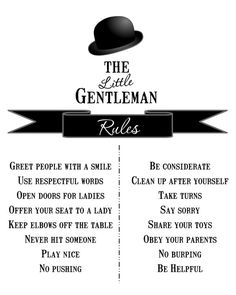 "Printable The Little Gentleman Rules Wall Print  - 8x10"" Version - No. 103. $5.00, via Etsy."