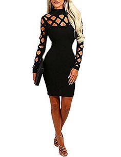 6f3dcad2570 Minetom Sexy Robe Femme Haut De Cou Moulantes Manche Longue Mini Robe  Partie Cocktail Robe Noir