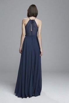 """""""Delaney"""" - High neckline bridesmaids dress shown in French Blue"""