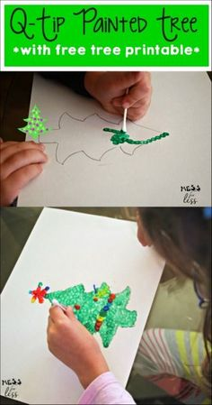 This q-tip painted tree is the perfect Christmas Craft for kids. I love that I already have all the supplies I need at home!
