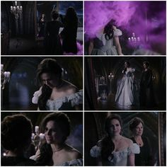 This moment was so sad.  One of the first ways we experiment with making choices and expressing ourselves as little kids is learning to dress ourselves.  Cora magically altering Regina's appearance as adult is such a clear boundary violation and for Regina to immediately view this as love and be touched by it spoke volumes to the dysfunction of their relationship.  Brilliant way show don't tell.