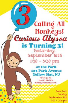"Need the perfect invitation for your curious little one? Celebrate all things Curious George with this fun & bright Curious George themed childs birthday party invitation. Size of invitation: 5 x 7"" (fits in A7 envelope)  *Special Note*  This listing is for a digital file ONLY. No physical item will be sent to you. Please follow the instructions below to provide me with all the important information so I can personalize your invitation! (And print as many as you like for the price of one ..."