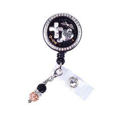 faith badge reel, cross locket badge, nurse locket badge, floating charm locket