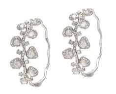 L' Dezen Jewellery Zutti White Gold Slice Diamond & White Diamond Hoops