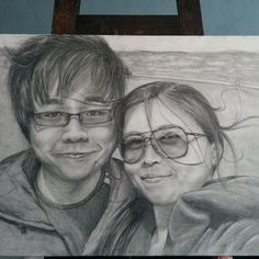 """""""Flying Hair Selfie  Pencil sketching based on an old photo taken in James Madison Park. February 6, 2015.  #messyhair #flyinghair #couple #smile #windy…"""""""