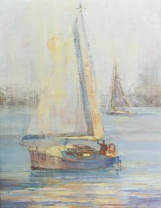 Sailboat off of Newport Beach, CA - oil painting by artist April Raber