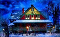 Hiver de neige, maison, Nouvel An, Noël, lumières, arbres, soirée Fonds d'écran - 1920x1200