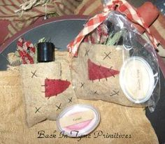 primitive crafts -Snowman bags or ornaments