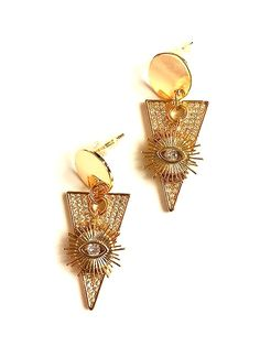The Tri-Sun Baubler Earrings are created with triangular and sun faceted gemstone charms. These earrings are lightweight, nickel-free and hypoallergenic. Design Show, Statement Jewelry, Studs, Charmed, Brooch, Gemstones, Earrings, Gold, Iris Apfel