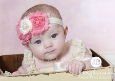 Baby headband Flower HeadbandShabby Chic by ThinkPinkBows on Etsy, $9.95