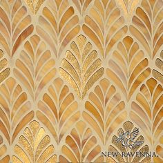 Margot a glass water jet mosaic shown in Gold Glass and Tiger's Eye Jewel Glass, is part of the Aurora Collection by Sara Baldwin for New Ravenna.