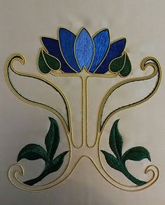 Art Nouveau Tile Series: Gold & Silk Waterlily Embroidery Kit by TheArtoftheNeedle on Etsy