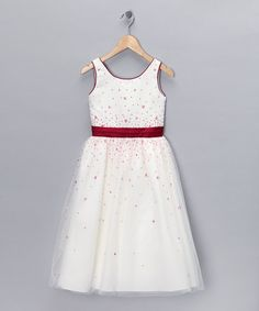 Take a look at this Ivory & Red Sequin Floral Dress - Toddler & Girls by Lida on #zulily today!