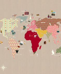 tienda online telas & papel   Mural de papel pintado con mapa mundi con fondo beige