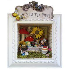 Mad Tea Party Shadow Box Art Alice In Wonderland Decor Mixed Media Original Assemblage Art on Etsy, $159.95