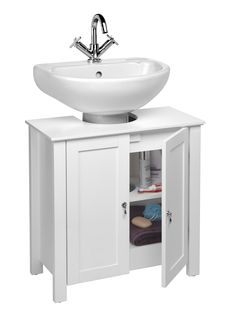 Croydex Ribble Under Basin Storage Unit White  sc 1 st  Pinterest & White Under the Sink Cupboard Space Saving Bathroom Floor Cabinet ...