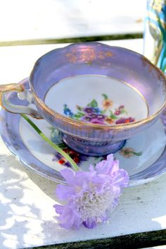 Purple, white and gold vintage tea cup and saucer. Vintage Tea, Vintage China, Teapots And Cups, Teacups, China Tea Cups, My Cup Of Tea, Chocolate Pots, Tea Cup Saucer, High Tea