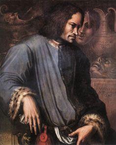 """Portrait of Lorenzo de' Medici ( """"il Magnifico"""" ). Oil on wood, 90 x 72 cm. A posthumous portrait by Giorgio Vasari - Painted in 1533/4 for Duke Alessandro de' Medici. -Galleria degli Uffizi, Florence-"""