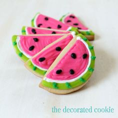 Watermelon Decorated Cookies For Summer By: The Decorated Cookie Pinned By:#TheCookieCutterCompany www.cookiecuttercompany.com