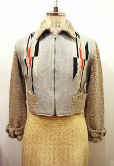 VINTAGE 40'S~ GANSCRAFT CHIMAYO SHORT JACKET (W.BLE/BEIGE/BLK/RED/WHT)