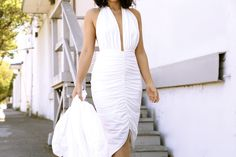 KTRCOLLECTION White Halter backless bodycon midi dress