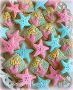 Mermaid and starfish cookies 2 dozen by SweetArtSweets on Etsy