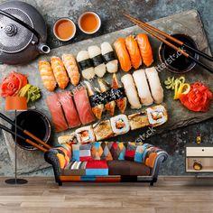 Fotobehang Sushi | Maak het jezelf eenvoudig en bestel fotobehang voorzien van een lijmlaag bij YouPri om zo gemakkelijk jouw woonruimte een nieuwe stijl te geven. Voor het behangen heb je alleen water nodig! #behang #fotobehang #print #opdruk #afbeelding #diy #behangen #sushi #japan #oosters #eten #voedsel #wasabi #oosters