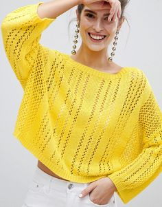 Shop the latest Stradivarius Loose Knit Sweater trends with ASOS! Jumpers For Women, Cardigans For Women, Crochet Boots, Knit Crochet, Chunky Knitwear, Loose Knit Sweaters, Cardigan Pattern, Crochet Fashion, Sweater Fashion
