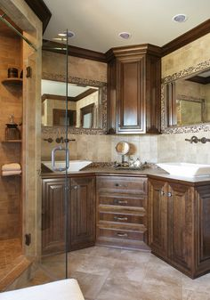 Corner Vanity Double Vessel Sinks Traditional Bathroom Newark