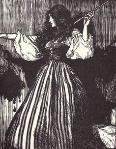 """""""The maiden fetched the magic wand, and then she took her stepsister's head and dropped three drops of blood from it."""" [Illustration by Arthur Rackham for Sweetheart Roland, a fairy tale by the Brothers Grimm.]"""