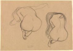 Two Studies of a Seated Nude with Long Hair (For Goldfish) / Klimt