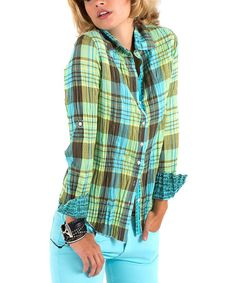 Another great find on #zulily! Turquoise & Brown Plaid Button-Up - Women by Cino #zulilyfinds
