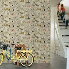 Graham & Brown Disney Vintage Retro Mickey and Minnies Night Out Wallpaper Kids Wallpaper, Textured Wallpaper, Brown Wallpaper, Retro Wallpaper, Mickey Minnie Mouse, Disney Mickey, Mickey Vintage, Deco Disney, Buy Wallpaper Online