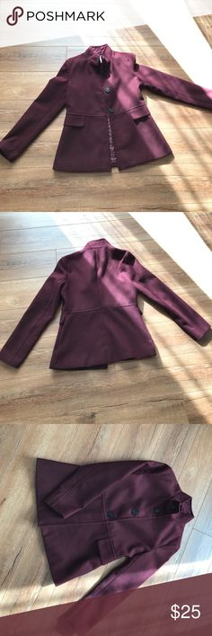 Old navy pea coat Old navy pea coat. Fully lined. Burgundy in color. Gently used in excellent condition with no rips stains or tears. False pockets. Old Navy Jackets & Coats