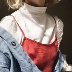 White turtleneck with red slip dress and denim jacket( oooo I need to get a white turtle neck and a slip dress) Look Fashion, 90s Fashion, Korean Fashion, Street Fashion, Fashion Outfits, Womens Fashion, Red Outfits, Fashion Pics, Celebrities Fashion