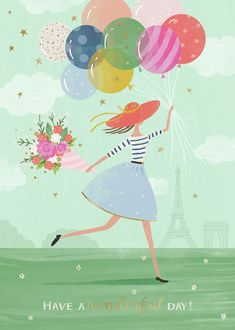 Claire McElfatrick Girl and balloons. Happy Birthday Text, Happy Birthday Messages, Happy Birthday Images, Happy Birthday Greetings, It's Your Birthday, Birthday Pictures, Birthday Wishes, Birthday Cakes, Birthday Balloons