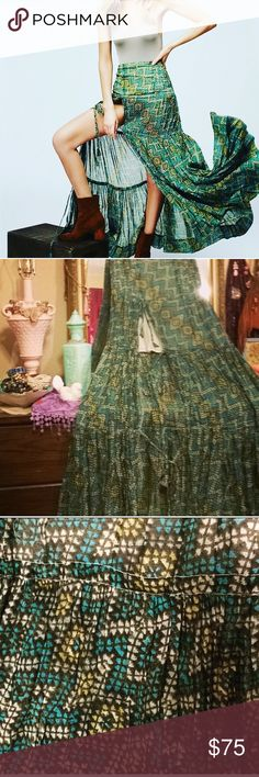 Free People One Esmerelda Maxi Skirt Sample sale purchase NWOT So beautiful!!! Size tag snipped to prevent returns. Wasn't sure I wanted to sell but I have so many skirts, I decided to re-list. Free People Skirts Maxi
