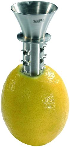 The manual Gefu Lemon Juicer allows you to have fresh citrus juice straight from the source. Simply twist in the juicer and squeeze the fruit to use. The Gefu Lemon Juicer is stainless steel and dishwasher safe. 12485 $12.95