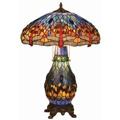 Tiffany Style Dragonfly Double Lit Stained Glass Table Lamp with 100 Cabochons