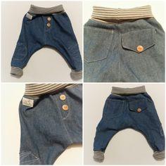 supercoole bequeme baby jeans pumphose mit weichem jersey bund und bündchen  hand gefertigt von childrenofhoney. Größen 0-3 monate, 3 -6 monate, 6-9 monate, 9-12 monate.  4€ aufpreis für: Gr...