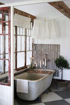 — Rustic bathroom.