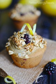Gluten Free Vegan Blackberry Lemon Muffins (uses all purpose gf flour, low fat, low sugar, naturally rises)