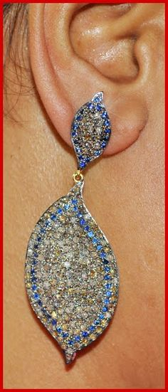 """""""Dovely"""" Price: $1,010    5.98ctw ROSE CUT DIAMOND SAPPHIRE 14k GOLD DANGLE/EARRING ♥    Signature Victorian Collection....known for its international taste and appeal!    Imported, world-class quality, not pre-owned, not pawned, not stolen. WE DELIVER WORLDWIDE ♥"""