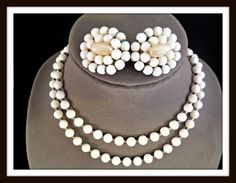 Vintage GERMANY White Milk Glass Necklace & Earrings w/ Faux Pearl Details #2124